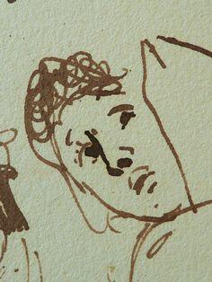 """DELACROIX Eugène,1824-25 (d'Après GOYA) - Les Caprices, Têtes (drawing, dessin, disegno-Louvre RF10620) - Detail 090  - TAGS / personnage figure figures people personnes painter peintre peintre details détail détails detalles """"dessins 19e"""" """"19th-century drawing"""" croquis étude study sketch sketches Lavis Wash """"Francesco Goya"""" """"after Goya"""" whim caprices whims woman dénudé naked nu bare nude women femme femmes tête head visage face portrait model """"Feuille d'études"""" freak freaks caricatures"""