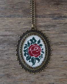 Red rose cross stitch necklace, Cross stitch pendant, Embroidery jewelry, Cross stitch jewelry, Fabric pendant, Vintage style brass jewelry
