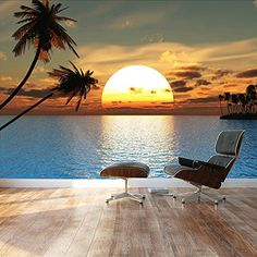 "Wall26 - Large Wall Mural - Beautiful Tropical Scenery/Landscape Palm Trees on the Beach at Sunset | Self-adhesive Vinyl Wallpaper / Removable Modern Decorating Wall Art - 100"" x 144"" wall26 http://www.amazon.com/dp/B00WX18ZHE/ref=cm_sw_r_pi_dp_T8L1wb0WAFVMY"