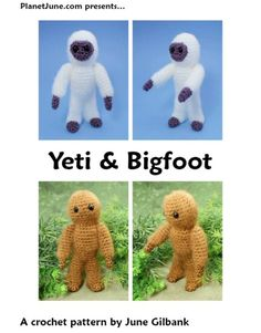 I was commissioned by comic book writer Jeff McClelland to design a cute yeti - Jeff's comic book series, Teddy and the Yeti, is about a robot and a yeti who defend the Earth from ... fINALLY!!! I Found the Squatch pattern!