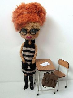 I never thought about glasses on a doll. YES!   #amigurumi #doll