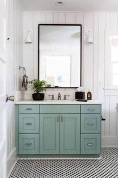 Small Bathroom Decor Ideas light blue vanity in white bathroom