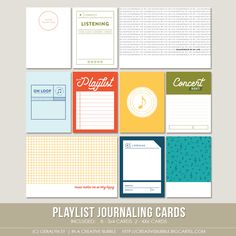In A Creative Bubble - Playlist Journaling Cards