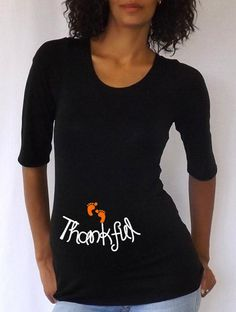 "Thanksgiving Gift for the Pregnant Mom-to-Be:  ""Thankful"" Maternity T-Shirt by D Jammar Maternity @ Etsy"