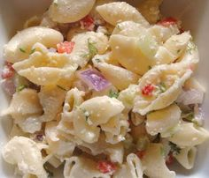 Creamy Parmesan Pasta Salad:  I just cook up my own wheat pasta with veggies and use this sauce recipe.  I threw in some shredded mozzarella for extra yum