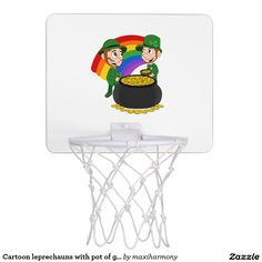 Cartoon leprechauns with pot of gold mini basketball hoop