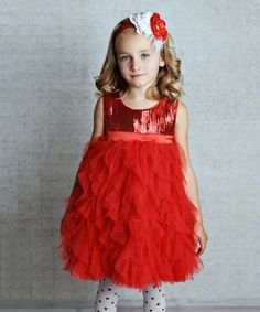 Look at this #zulilyfind! Red Sequin Ruffle Dress - Infant, Toddler & Girls by Lollies and Lace Boutique #zulilyfinds
