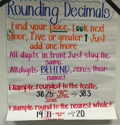 Rounding Decimals Anchor Chart & Game, 5th Grade Math, EngageNY Module 2