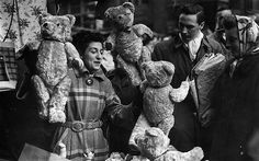 I'll Have This One, December 9, 1951  A Christmas shopper thinks about buying a teddy bear from a stallholder in Petticoat Lane, east London. Petticoat Lane Market is one of East London's oldest markets, selling clothing and all manner of household goods. Petticoat Lane itself was renamed by the prudish Victorians and the market today extends over several streets in Spitalfields.