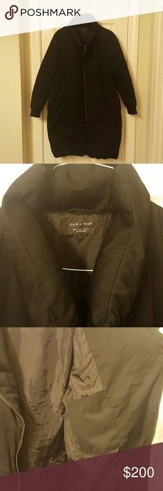 Winter is Coming.Zara Man. Black Down Jacket Large Perfect for the cold winter! 50/50 down and feathers. Super warm. Could use a wash but it is handwashed only. Great condtion. Zips up above the neck. One inside pocket. 40inches in length from shoulder to bottom. Make me an offer. Zara Jackets & Coats Puffers