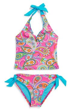 df25bd6917 Breaking Waves 'Paisley Paradise' Two-Piece Tankini Swimsuit (Little Girls)  | Nordstrom