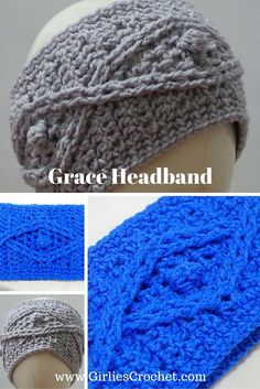 Free Crochet Pattern: Grace Headband, a women winter headband using cable stitch with photo tutorial in each step.