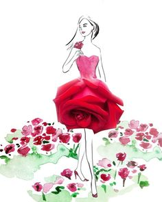 Flowers drawing illustration grace ciao Ideas for 2019 Grace Ciao, Arte Fashion, Floral Fashion, Dress Fashion, Trendy Fashion, Boho Fashion, Illustration Blume, Arte Floral, Fashion Sketches