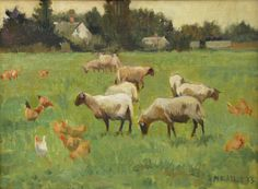 Sheep and Chickens, Normandy,  Meredith Brooks Abbott; 2014; Oil on canvas