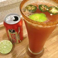 Refreshing chelada!  Beer, lime juice, clamato juice or tomato juice or both, hot sauce, celery salt.