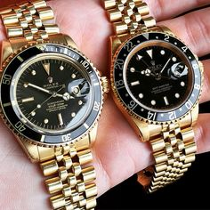 A Couple Yellow Gold Vintage Rolex Watches: 1680 Sub and 16758 GMT with Jubilee bracelets.