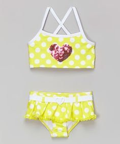 288a6a75c366d Look what I found on  zulily! Yellow  amp  White Sequin Heart Bikini -