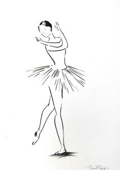 Ballerina Drawing Original Drawing Black and White by CanotStop