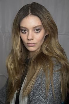 Look at the drawn-on lower lashes at Vionnet for Fall 2014 Paris Fashion Week! #PFW