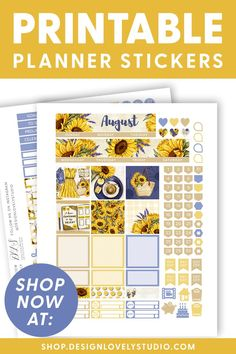 AUGUST Monthly Planner Stickers, Big Happy Planner Printable Stickers, Summer Monthly Kit, Summer Stickers, Sunflowers Stickers #bighappyplannerideas #bighappyplannerstickers #summerplannerstickers