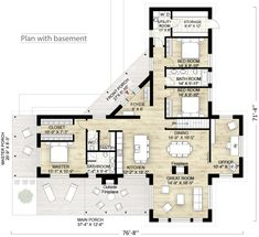 Contemporary Style House Plan - 3 Beds Baths 2180 Sq/Ft Plan - House Plans, Home Plan Designs, Floor Plans and Blueprints L Shaped House Plans, Cabin House Plans, Cabin Floor Plans, House Plans One Story, Bedroom House Plans, Contemporary House Plans, Contemporary Style Homes, Modern House Plans, Small House Plans