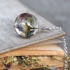 Woodland Resin Necklace Dry Flowers Necklace Gift for Her