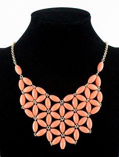 #SheInside Red Flowers Collar Chain Necklace - Sheinside.com