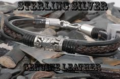 B-473 Finely Made Sterling Silver New Leather Wristband Bangle Men Bracelet.