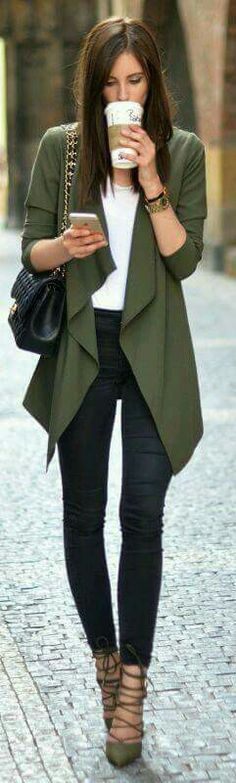 I'm noticing a trend with olive green and cardigan outfits.