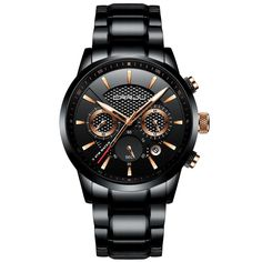 Black and gold stainless steel watch Sport Watches, Cool Watches, Men's Watches, Watches Online, Citizen Watches, Stylish Watches, Wrist Watches, Business Casual Men, Business Style