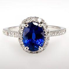Blue Sapphire & Diamond Halo Engagement Ring 14K White ...