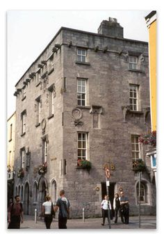 Lynch's Castle in Galway, Co Galway. (Most powerful of The 14 ruling tribes of Galway.) Built 1400s. Mostly visible from 1600s..