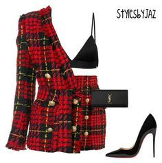 featuring Balmain, Vyayama, Christian Louboutin and Yves Saint Laurent Stage Outfits, Kpop Outfits, Girl Outfits, Fashion Outfits, Womens Fashion, Classy Outfits, Stylish Outfits, Look Fashion, Korean Fashion