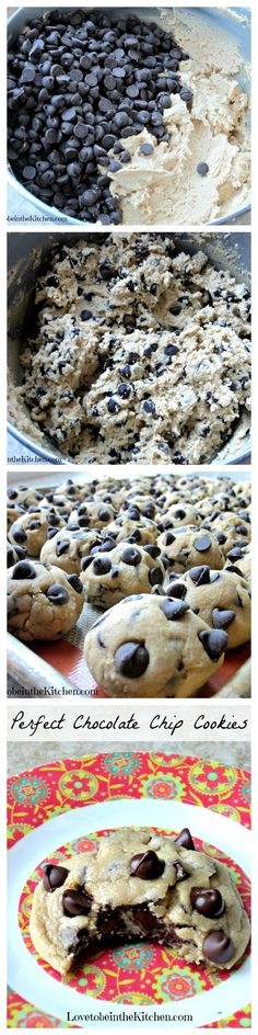 Perfect Chocolate Chip Cookies- 5th most popular recipe in 2014 on Love to be in the Kitchen!  This is my #1 favorite recipe I have posted this year and all-time on my blog! I was thrilled to have finally found the perfect chocolate chip cookie recipe and since perfecting this recipe I have made it countless times! You've got to try it!