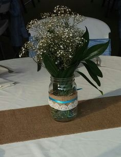 Flower centerpiece masion jar, Pro Rodeo Hall of Fame