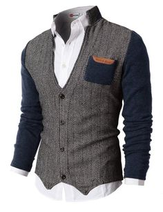 H2H Mens Herringbone Cardigan Sweater Of Knitted Sleeves NAVY US XL/Asia XXL (KMOSWL015)