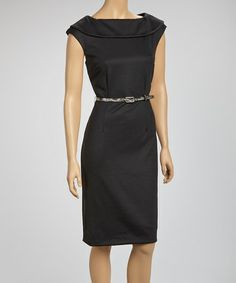 Belted Black Dress. Great for Work