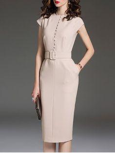Apricot Elegant Solid Sheath Crew Neck Midi Dress