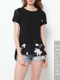 Embroidery Plain Charming Short-sleeve-t-shirts