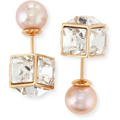 Vita Fede Crystal & Pearl Double Cubo Earrings ($675) ❤ liked on Polyvore featuring jewelry, earrings, pearl jewelry, post earrings, rose earrings, white pearl earrings and crystal bracelet