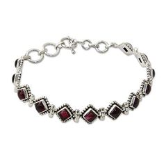 "NOVICA .925 Sterling Silver and Garnet Tennis Bracelet, 7.75"" - 8.5"", 'Deep Red Diamonds' ** You can get additional details at the image link."