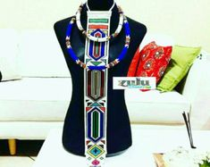 Ndebele inyoka(necktie) paired with Zulu rope necklaces African Wear, African Fashion, Xhosa Attire, Tribal Bags, Swag, African Wedding Dress, Rope Necklace, Necklaces, African Jewelry