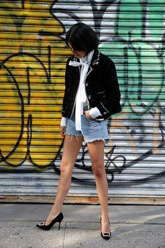 Can Denim Cutoffs Look Adult? http://www.manrepeller.com/2015/07/how-to-dress-up-denim-shorts.html