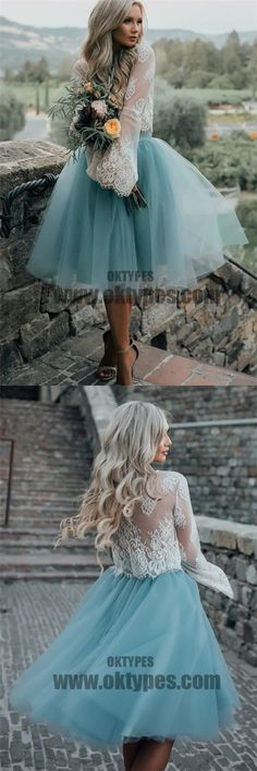 2018 New Arrival Boho Style Long Sleeve See Through Lace Top Blue Tulle Homecoming Dresses, TYP0513