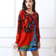 Nuovo autunno inverno 2016 Moda Donna Abiti a maniche lunghe Plus dimensione dress allentato della ragazza parti superiori casuali 4xl 5xl tunica pullover elegante