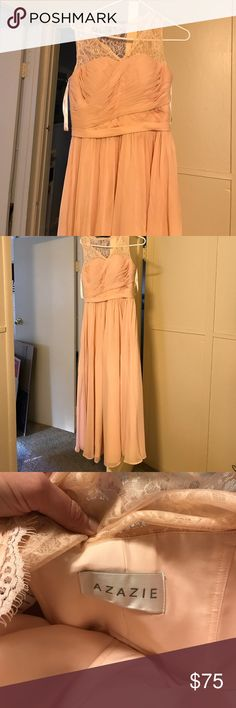 Blush Bridesmaid Dress Azazie One of the most comfortable bridesmaid dresses ever worn! It's a size 6 from Azazie and I had it shortened. I'm 5'3 and I wore this dress with flats. The lace detail is so perfect! azazie Dresses