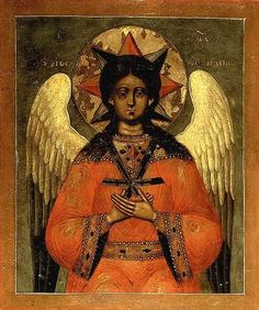 "This is an icon of Christ as the Angel of ""Hagia Hesychia,"" or ""Holy Silence,"" a remarkable and unusual image traditional to Orthodox Christianity and rarely found outside it."