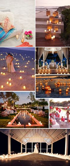 beach wedding, at night, lot's of candles lot's of lights, colorful flowers = perfect night