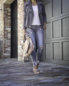 fall fashion moto jacket gray distressed jeans