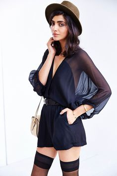 Kimchi Blue Balloon-Sleeve Romper - this may be one of my favorite rompers i've seen all season!